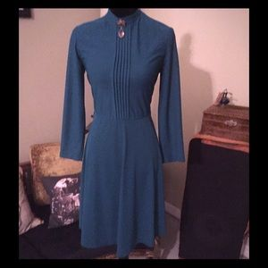 Vintage 70s Teal Green Victorian Collar Dress S